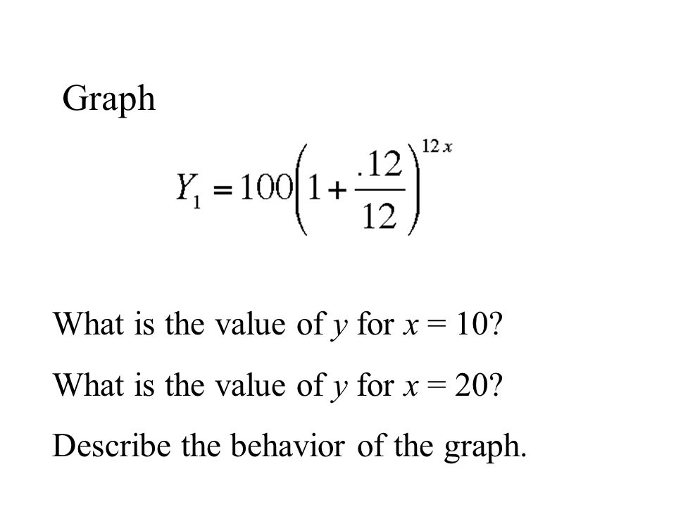 Graph What is the value of y for x = 10? What is the value of y for x = 20? Describe the behavior of the graph.