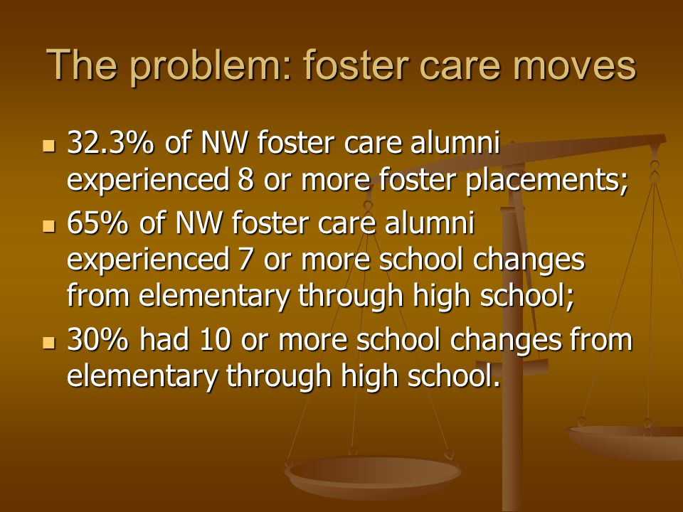 The problem: foster care moves 32.3% of NW foster care alumni experienced 8 or more foster placements; 32.3% of NW foster care alumni experienced 8 or more foster placements; 65% of NW foster care alumni experienced 7 or more school changes from elementary through high school; 65% of NW foster care alumni experienced 7 or more school changes from elementary through high school; 30% had 10 or more school changes from elementary through high school.