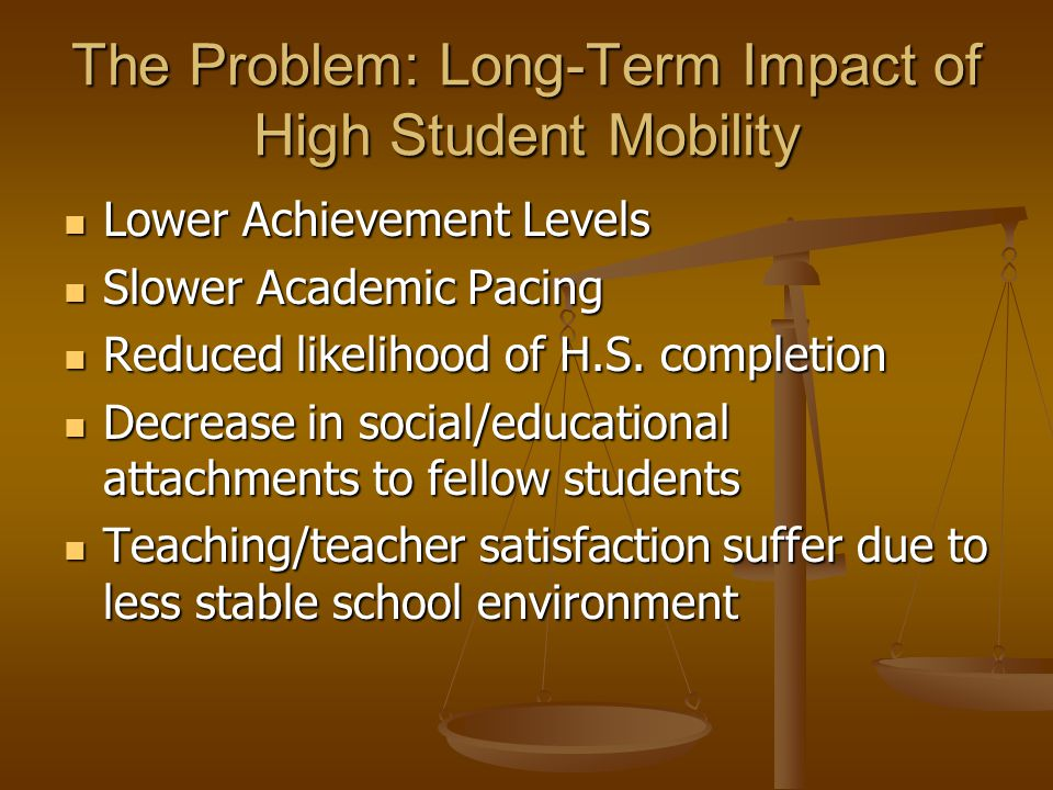 The Problem: Long-Term Impact of High Student Mobility Lower Achievement Levels Lower Achievement Levels Slower Academic Pacing Slower Academic Pacing Reduced likelihood of H.S.