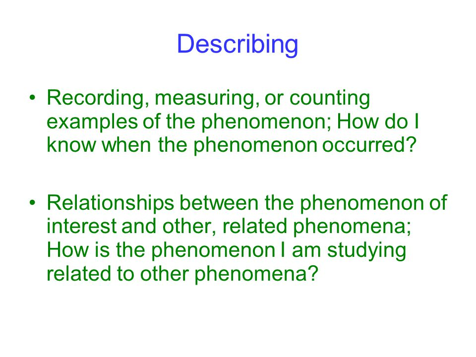 Describing Recording, measuring, or counting examples of the phenomenon; How do I know when the phenomenon occurred.