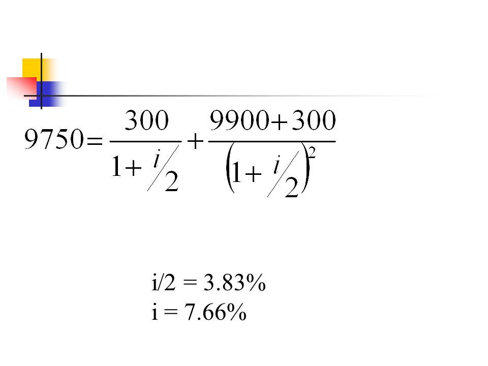i/2 = 3.83% i = 7.66%