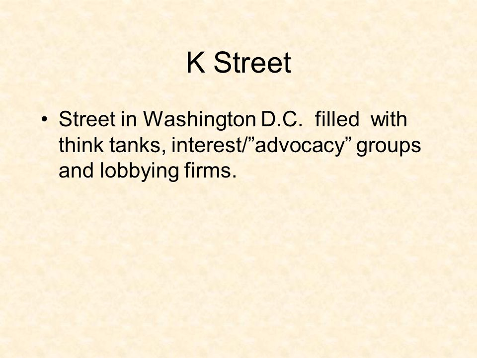 """K Street Street in Washington D.C. filled with think tanks, interest/""""advocacy"""" groups and lobbying firms."""