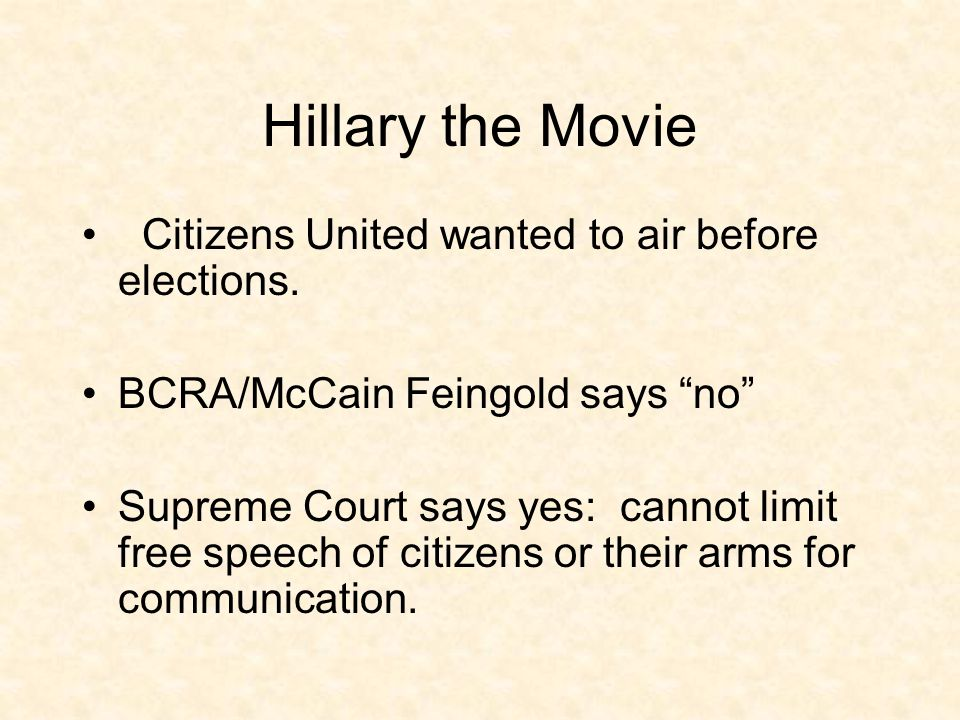 Hillary the Movie Citizens United wanted to air before elections.