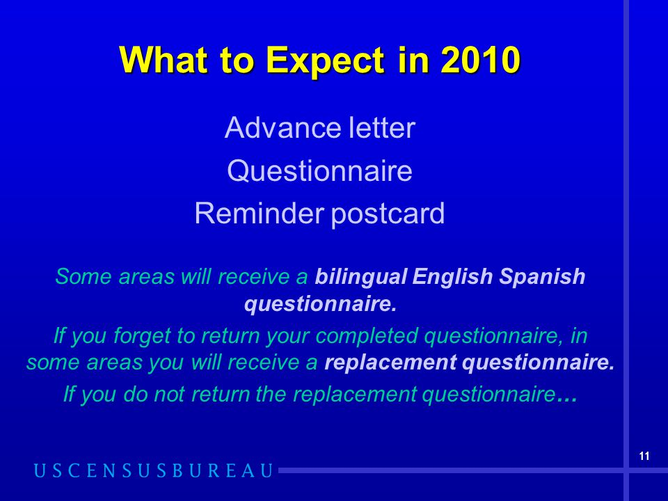 11 What to Expect in 2010 Advance letter Questionnaire Reminder postcard Some areas will receive a bilingual English Spanish questionnaire.