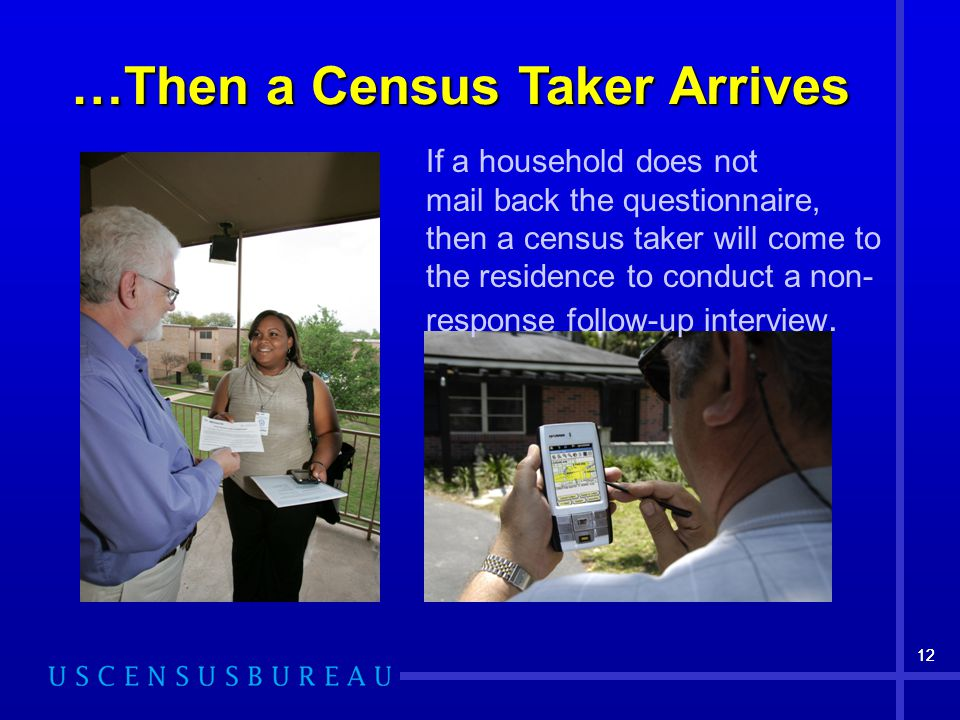 12 …Then a Census Taker Arrives If a household does not mail back the questionnaire, then a census taker will come to the residence to conduct a non- response follow-up interview.