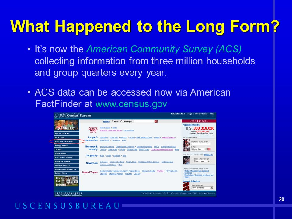 20 What Happened to the Long Form? It's now the American Community Survey (ACS) collecting information from three million households and group quarter