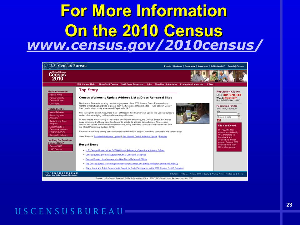 23 For More Information On the 2010 Census www.census.gov/2010censwww.census.gov/2010census/