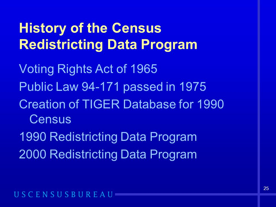 25 History of the Census Redistricting Data Program Voting Rights Act of 1965 Public Law 94-171 passed in 1975 Creation of TIGER Database for 1990 Census 1990 Redistricting Data Program 2000 Redistricting Data Program