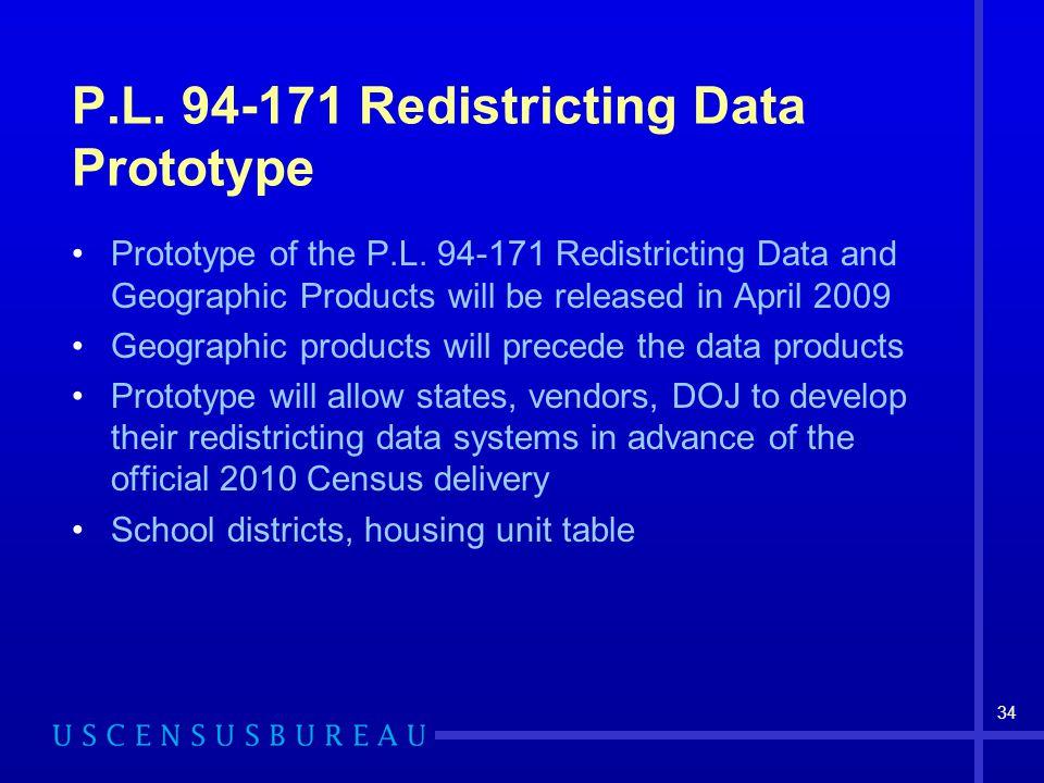 34 P.L. 94-171 Redistricting Data Prototype Prototype of the P.L.