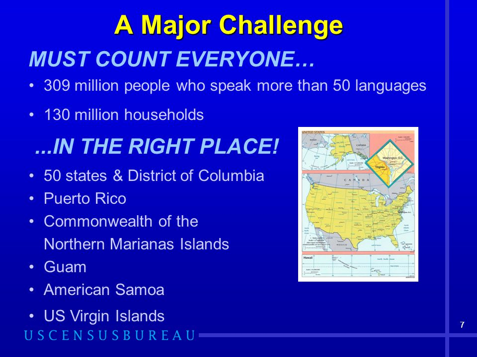 77 A Major Challenge MUST COUNT EVERYONE… 309 million people who speak more than 50 languages 130 million households...IN THE RIGHT PLACE! 50 states &