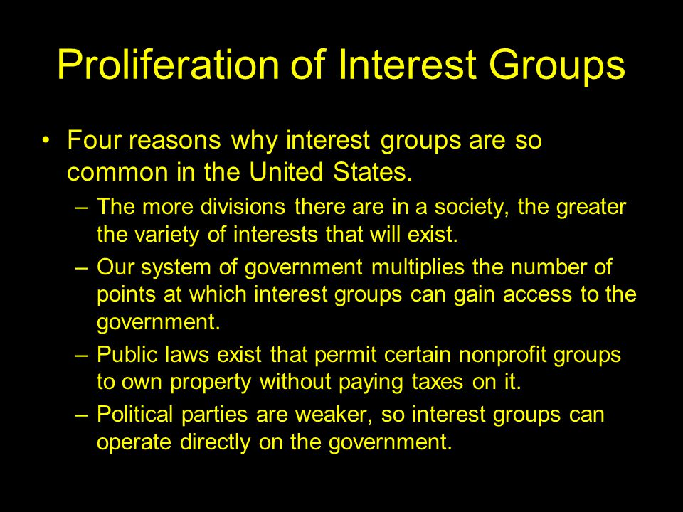Money and PACs Money is actually one of the least effective ways for an interest group to influence politicians Two effects of campaign finance law (1973) –Restricted amounts interest groups can give to candidates –Made it legal for corporations and unions to create PACs