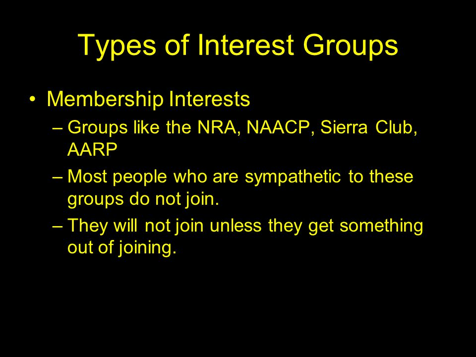 The Problem of Bias with Interest Groups Upper-class Bias –Well-off people are more likely than the poor to join and be active in interest groups –Professional and Business interest groups are more numerous and usually take in more money than other groups.
