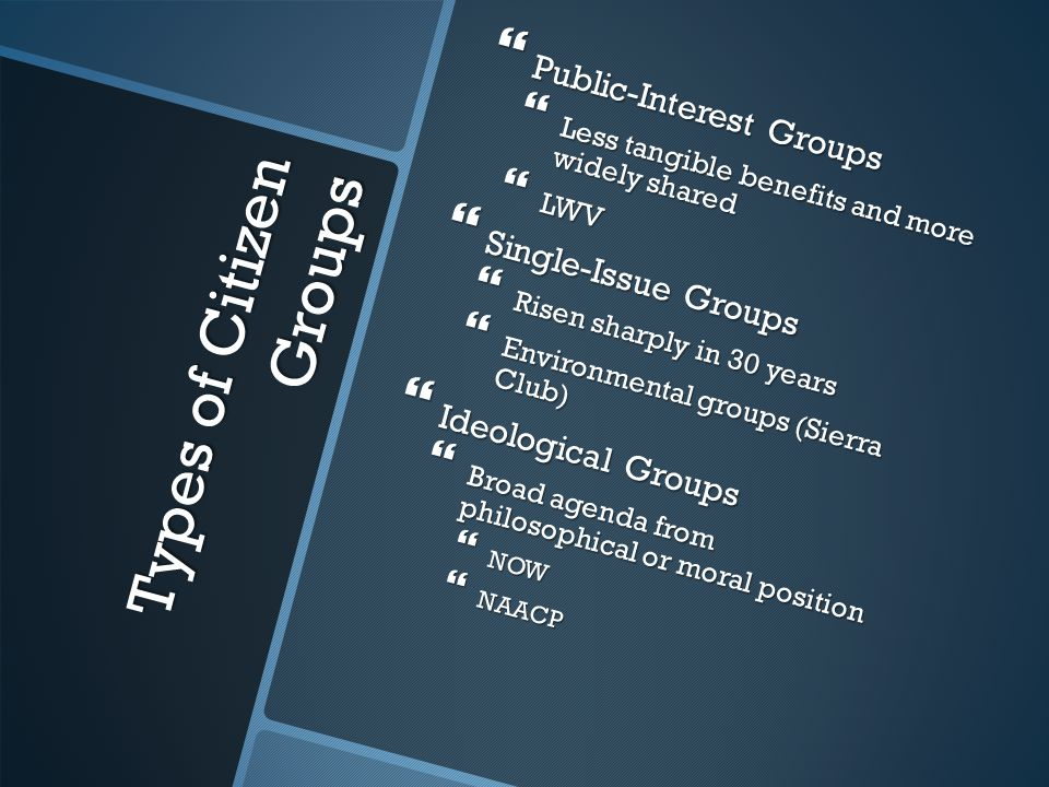 Types of Citizen Groups  Public-Interest Groups  Less tangible benefits and more widely shared  LWV  Single-Issue Groups  Risen sharply in 30 years  Environmental groups (Sierra Club)  Ideological Groups  Broad agenda from philosophical or moral position  NOW  NAACP