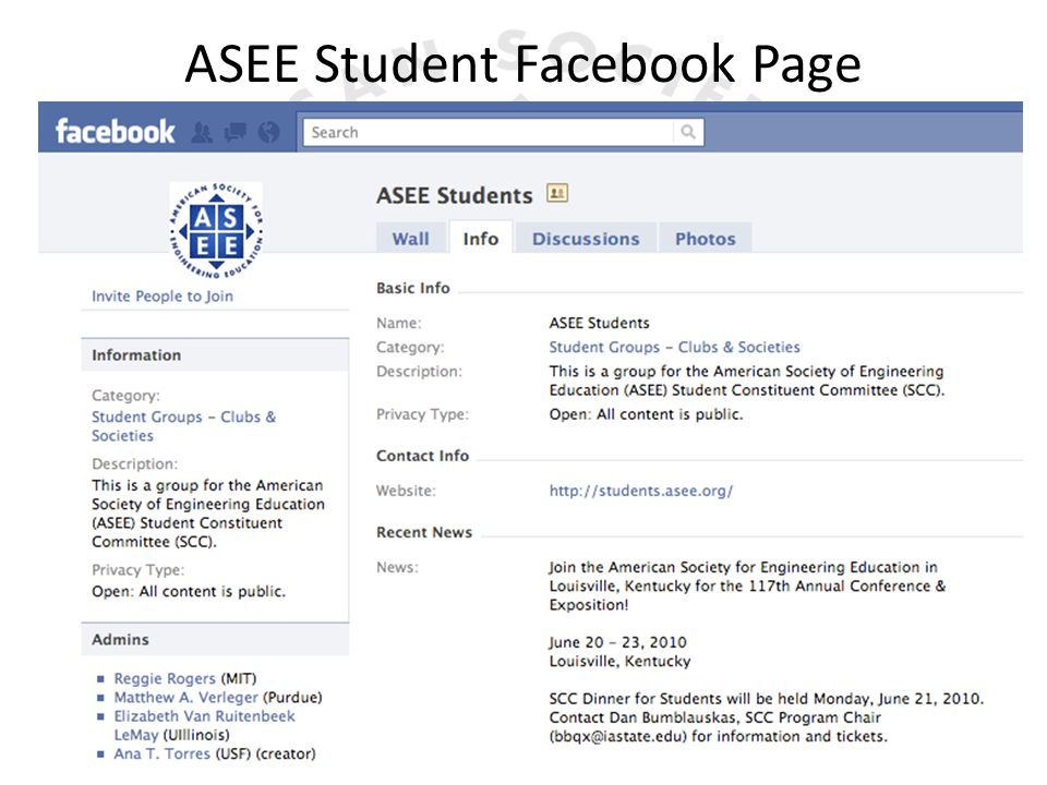 ASEE Student Facebook Page