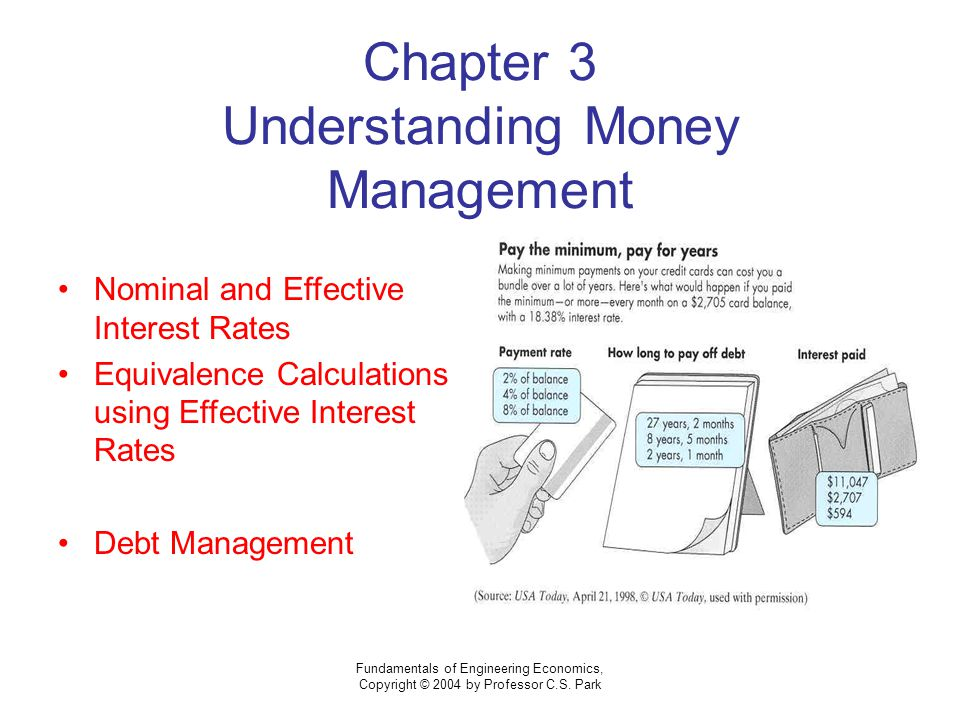 Fundamentals of Engineering Economics, Copyright © 2004 by Professor C.S. Park Chapter 3 Understanding Money Management Nominal and Effective Interest