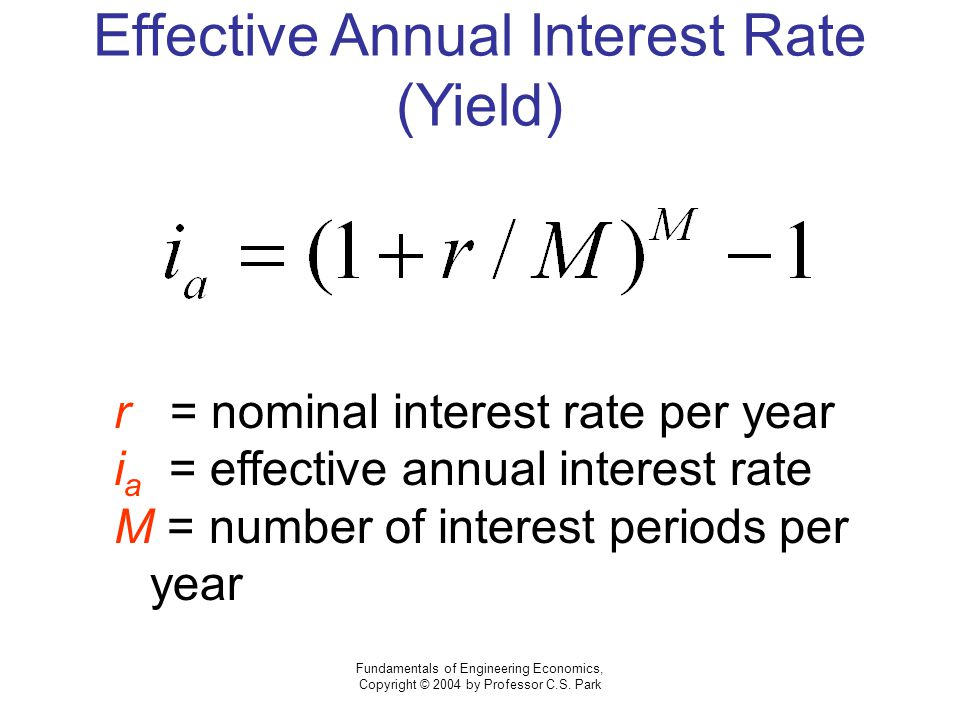 Fundamentals of Engineering Economics, Copyright © 2004 by Professor C.S. Park Effective Annual Interest Rate (Yield) r = nominal interest rate per ye