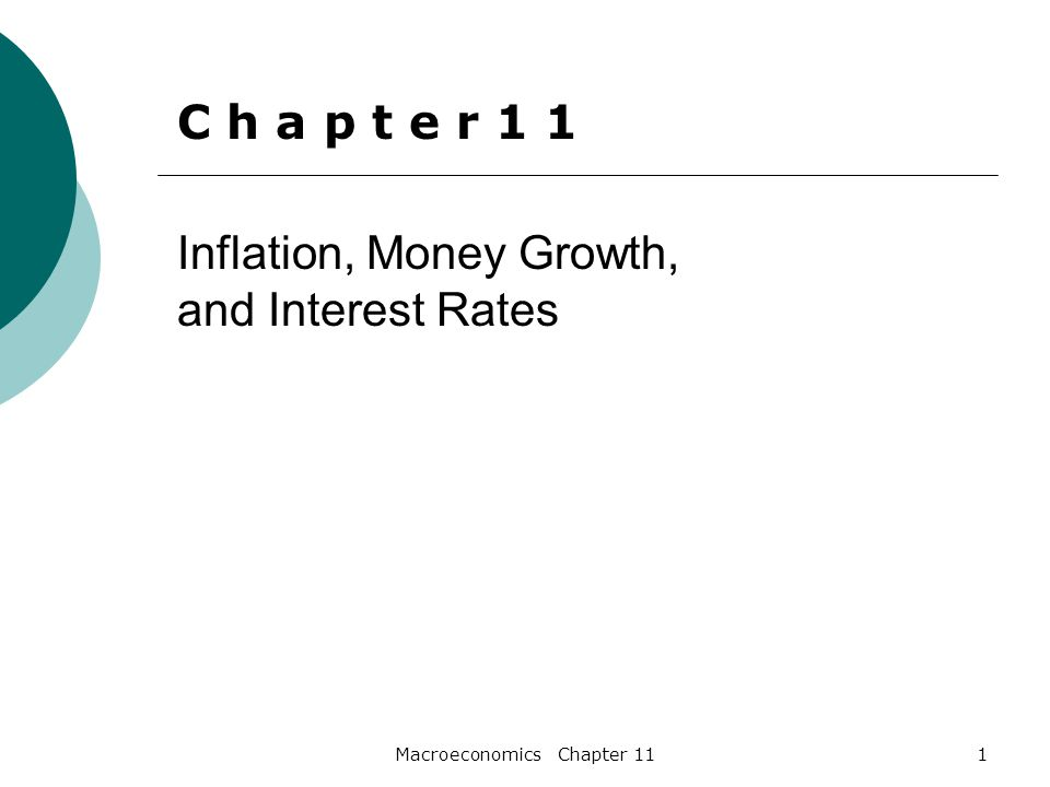 Macroeconomics Chapter 1122 Inflation and Interest Rates  Fisher Equation  i = r +π  Fisher Effect i π