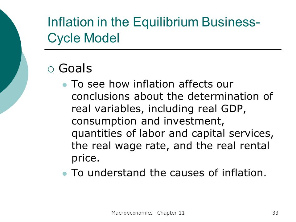 Macroeconomics Chapter 1133 Inflation in the Equilibrium Business- Cycle Model  Goals To see how inflation affects our conclusions about the determination of real variables, including real GDP, consumption and investment, quantities of labor and capital services, the real wage rate, and the real rental price.