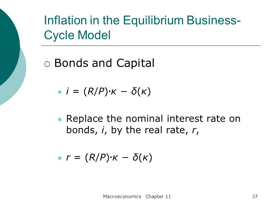 Macroeconomics Chapter 1137 Inflation in the Equilibrium Business- Cycle Model  Bonds and Capital i = (R/P) · κ − δ(κ) Replace the nominal interest rate on bonds, i, by the real rate, r, r = (R/P) · κ − δ(κ)