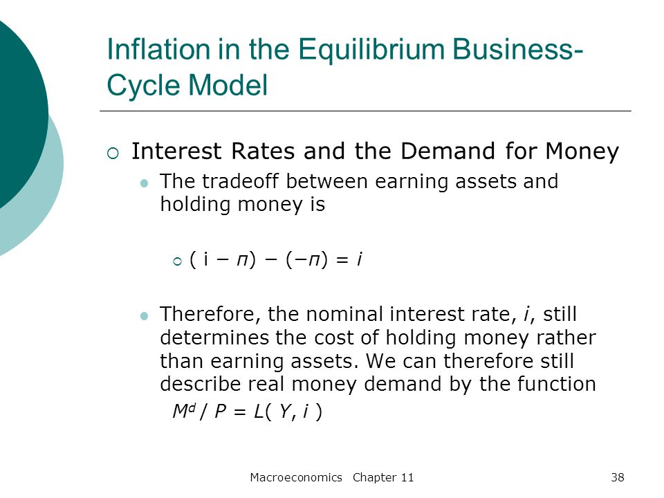 Macroeconomics Chapter 1138 Inflation in the Equilibrium Business- Cycle Model  Interest Rates and the Demand for Money The tradeoff between earning assets and holding money is  ( i − π) − (−π) = i Therefore, the nominal interest rate, i, still determines the cost of holding money rather than earning assets.