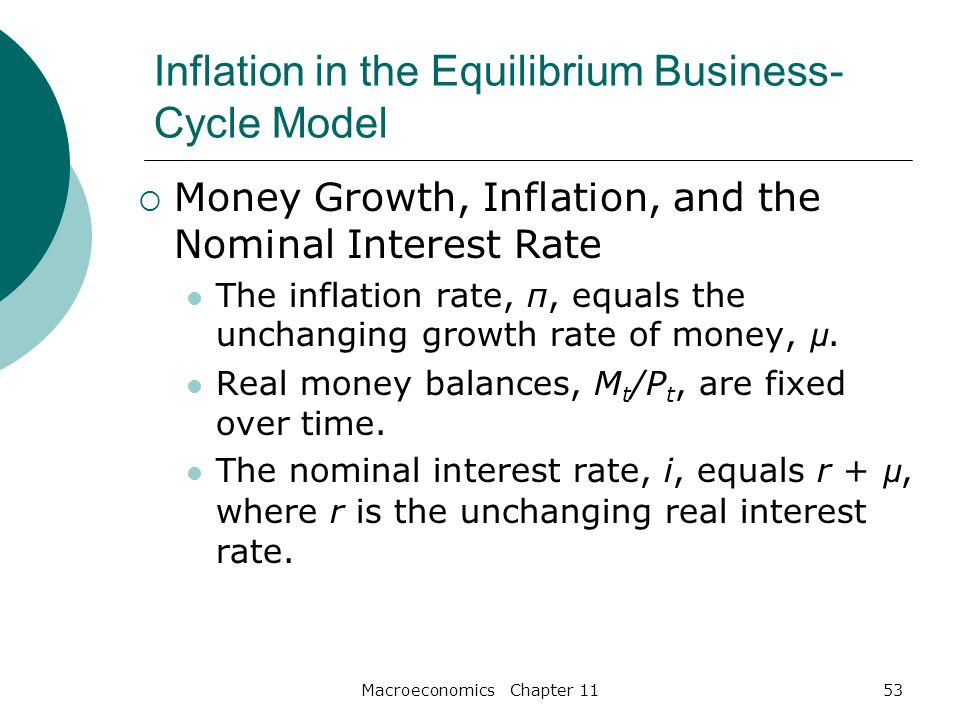 Macroeconomics Chapter 1153 Inflation in the Equilibrium Business- Cycle Model  Money Growth, Inflation, and the Nominal Interest Rate The inflation rate, π, equals the unchanging growth rate of money, µ.
