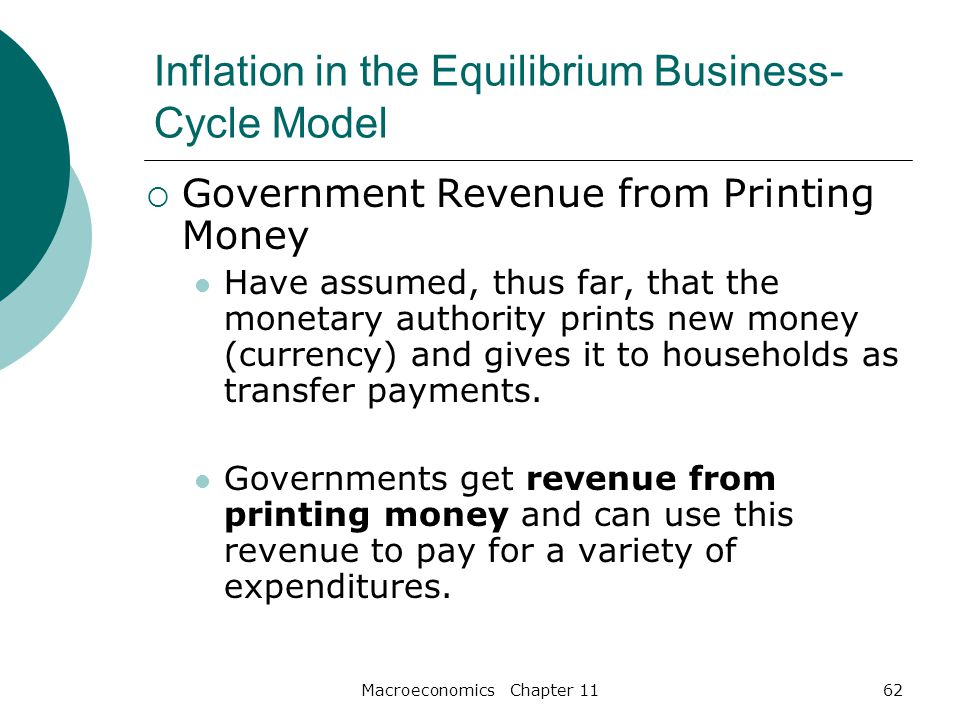 Macroeconomics Chapter 1162 Inflation in the Equilibrium Business- Cycle Model  Government Revenue from Printing Money Have assumed, thus far, that the monetary authority prints new money (currency) and gives it to households as transfer payments.