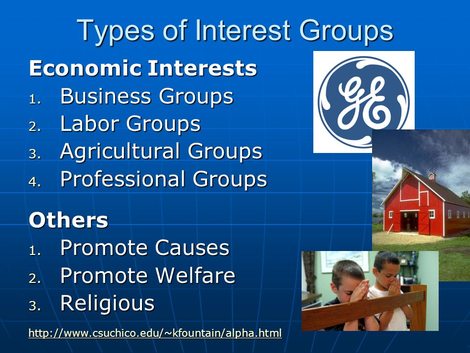 Types of Interest Groups Economic Interests 1. Business Groups 2.