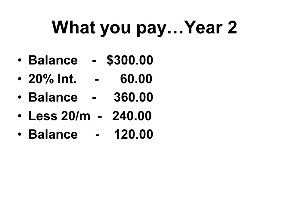 What you pay…Year 2 Balance - $ % Int.