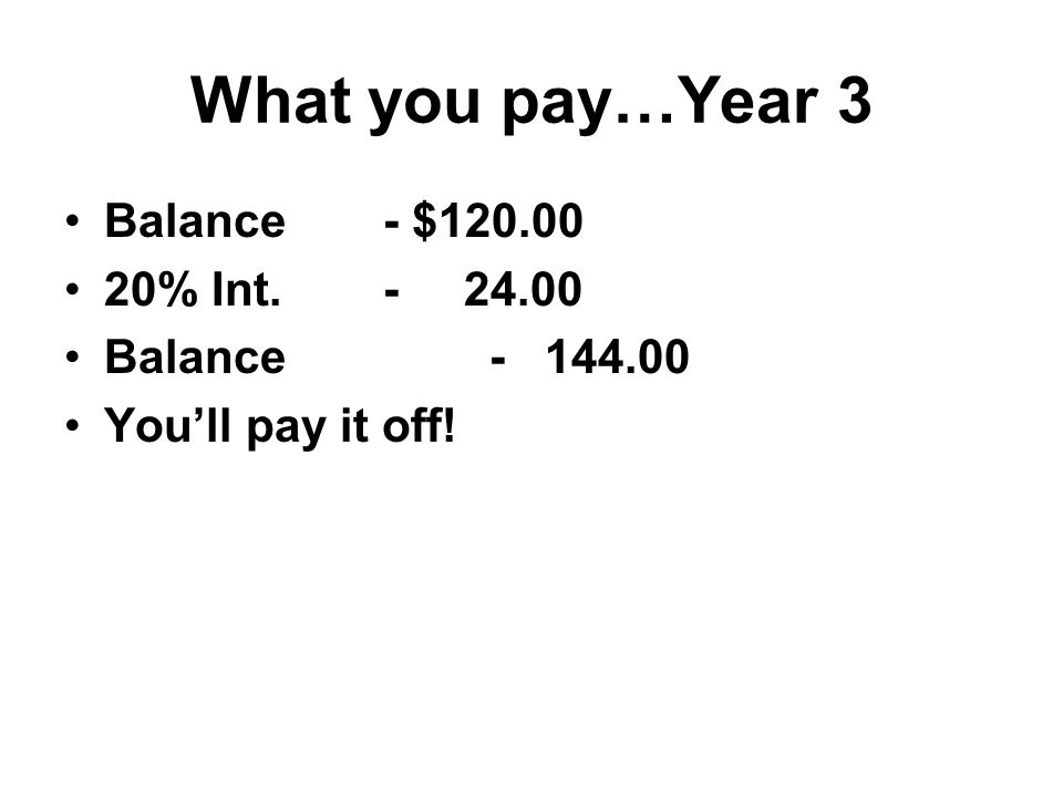 What you pay…Year 3 Balance - $ % Int Balance You'll pay it off!