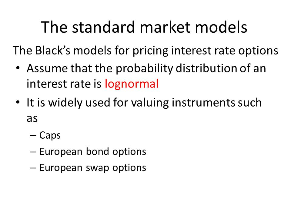 Summary of the models we mentioned A good interest rate model should have the following three basic characteristics: – Interest rates should be positive – should be autoregressive – We should get simple formulate for bond prices and for the prices of some derivatives A model giving a good approximation to what observed in reality is more appropriate than that with elegant formulas
