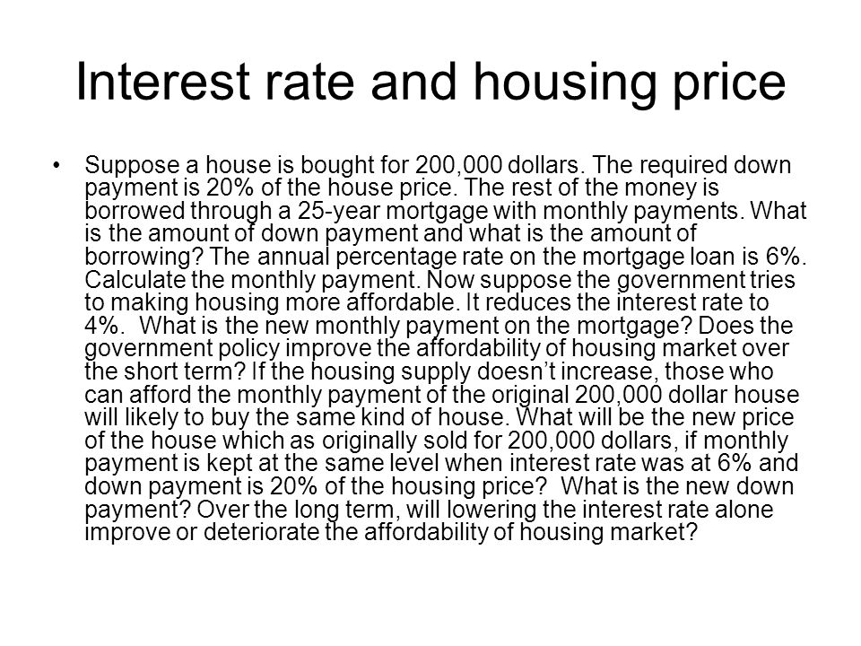 Interest rate and housing price Suppose a house is bought for 200,000 dollars.