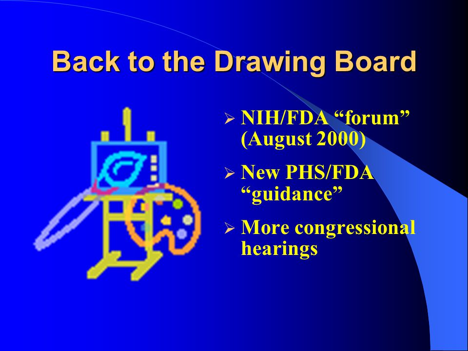 Back to the Drawing Board  NIH/FDA forum (August 2000)  New PHS/FDA guidance  More congressional hearings