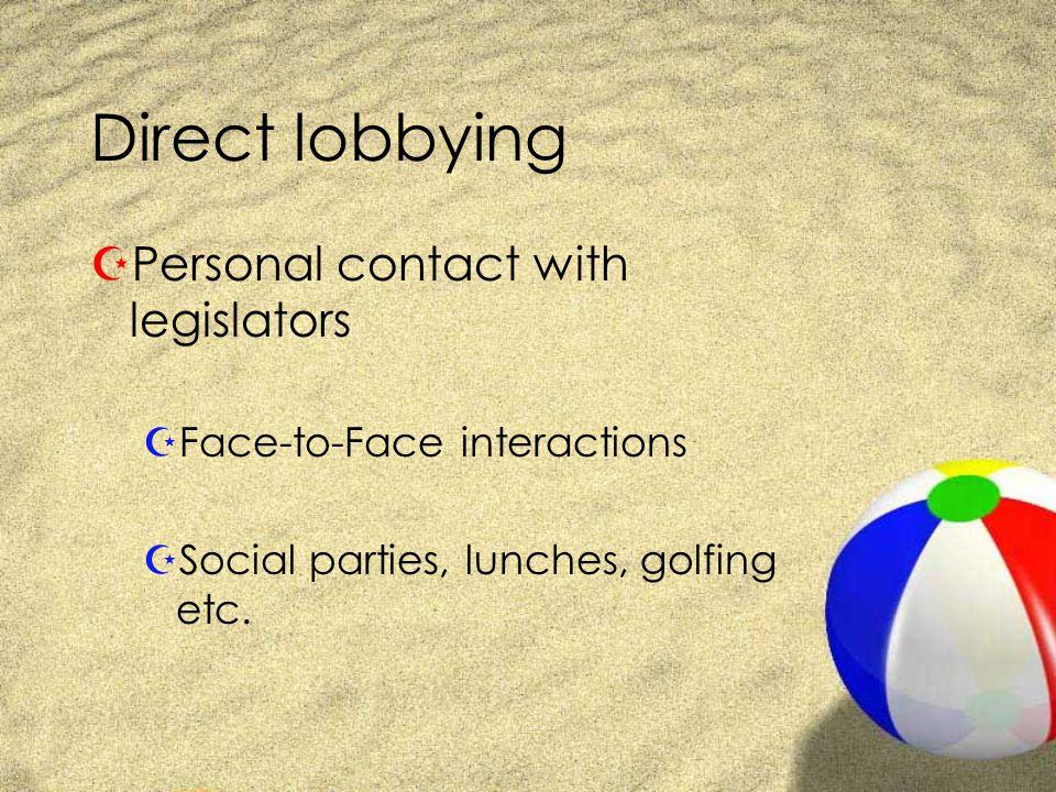 Indirect lobbying ZGrass-roots lobbying ZInfluence the public first, then the legislators respond ZEx.