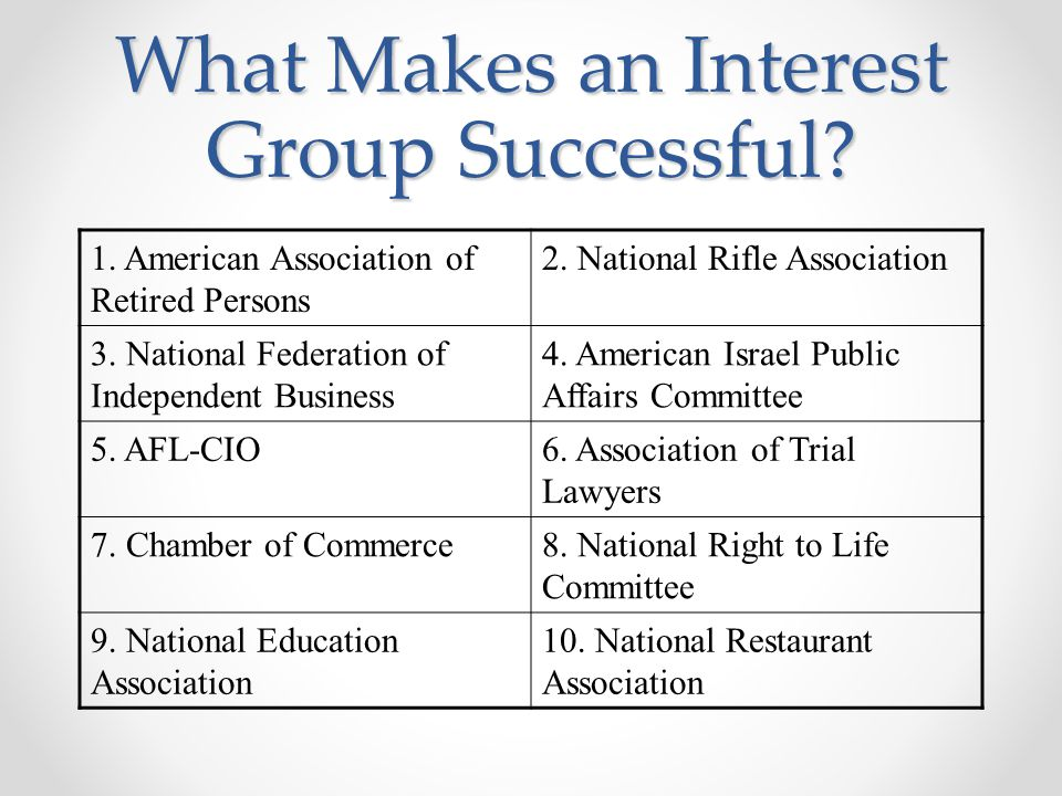 What Makes an Interest Group Successful? 1. American Association of Retired Persons 2. National Rifle Association 3. National Federation of Independen