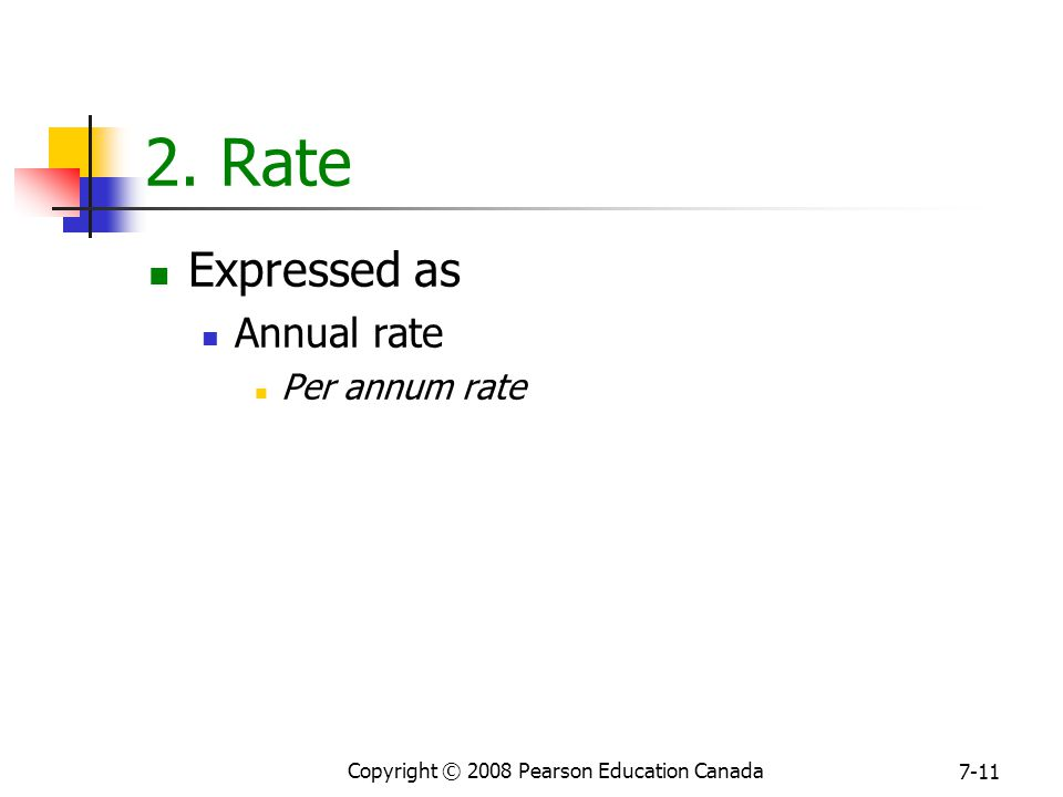 Copyright © 2008 Pearson Education Canada 7-11 2. Rate Expressed as Annual rate Per annum rate