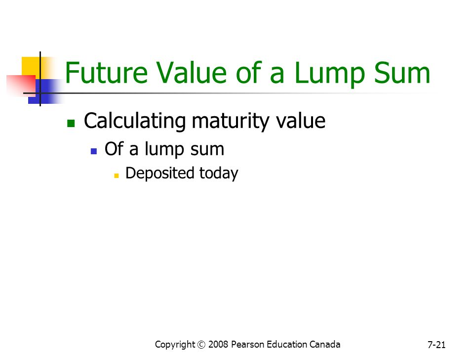 Copyright © 2008 Pearson Education Canada 7-21 Future Value of a Lump Sum Calculating maturity value Of a lump sum Deposited today