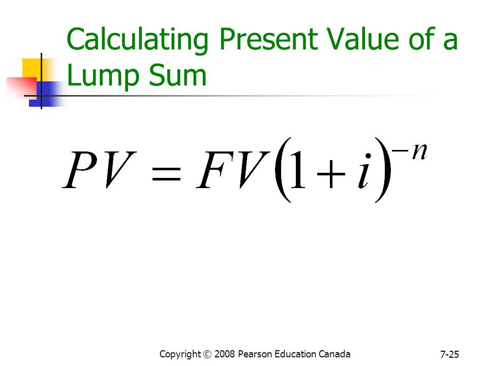 Copyright © 2008 Pearson Education Canada 7-25 Calculating Present Value of a Lump Sum