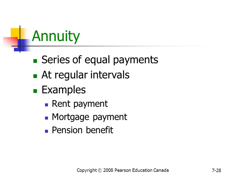 Copyright © 2008 Pearson Education Canada 7-28 Annuity Series of equal payments At regular intervals Examples Rent payment Mortgage payment Pension benefit