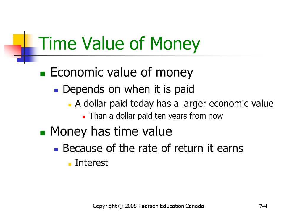 Copyright © 2008 Pearson Education Canada 7-4 Time Value of Money Economic value of money Depends on when it is paid A dollar paid today has a larger economic value Than a dollar paid ten years from now Money has time value Because of the rate of return it earns Interest