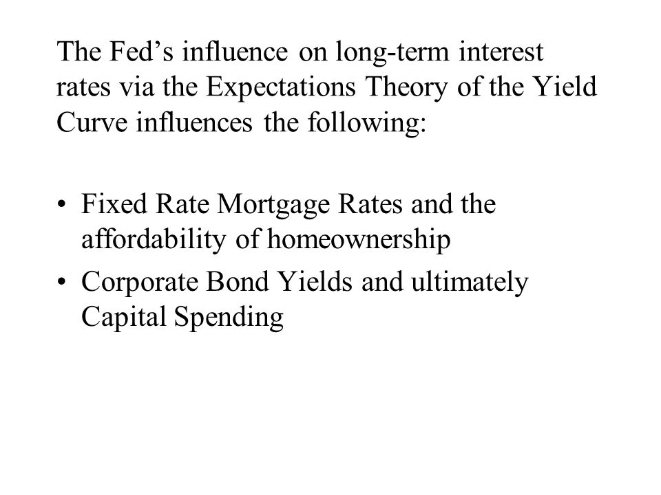 The Fed's influence on long-term interest rates via the Expectations Theory of the Yield Curve influences the following: Fixed Rate Mortgage Rates and the affordability of homeownership Corporate Bond Yields and ultimately Capital Spending
