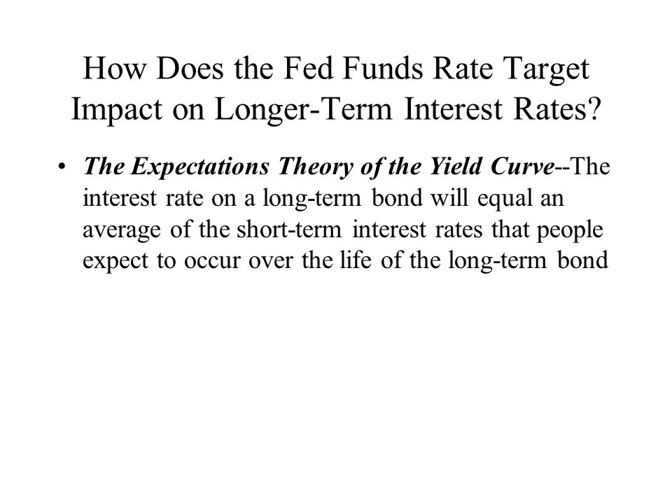 How Does the Fed Funds Rate Target Impact on Longer-Term Interest Rates? The Expectations Theory of the Yield Curve--The interest rate on a long-term