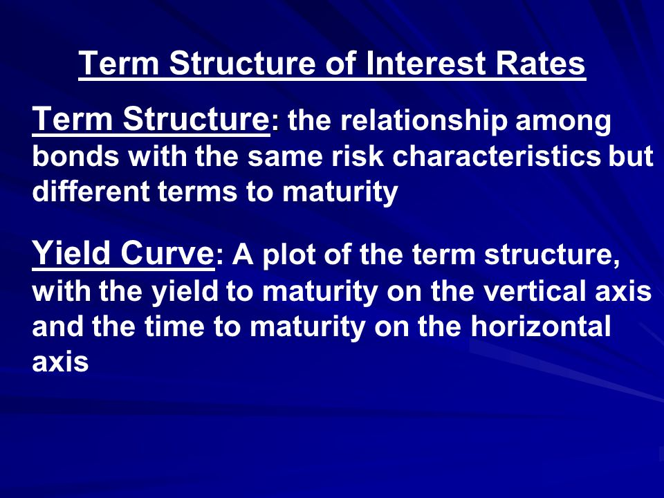 Term Structure of Interest Rates : Term Structure : the relationship among bonds with the same risk characteristics but different terms to maturity Yield Curve : A plot of the term structure, with the yield to maturity on the vertical axis and the time to maturity on the horizontal axis