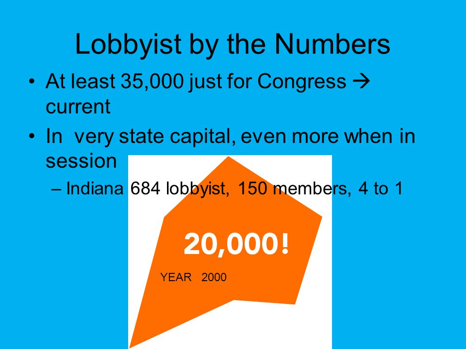 Lobbyist by the Numbers At least 35,000 just for Congress  current In very state capital, even more when in session –Indiana 684 lobbyist, 150 members, 4 to 1 YEAR 2000
