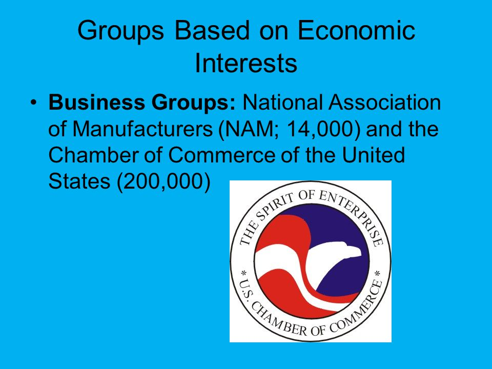 Groups Based on Economic Interests Business Groups: National Association of Manufacturers (NAM; 14,000) and the Chamber of Commerce of the United States (200,000)