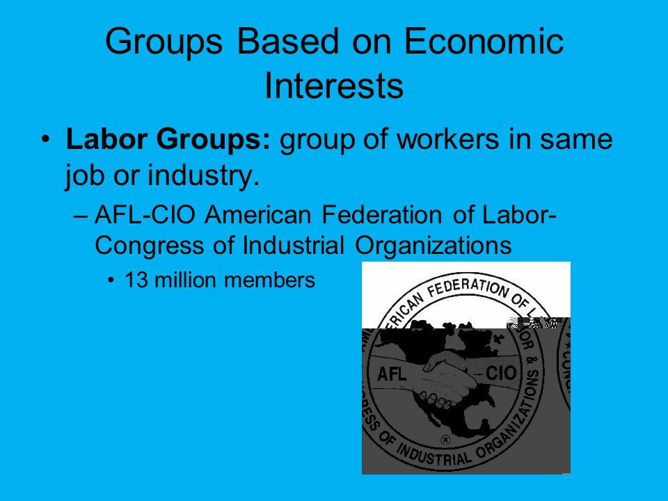 Groups Based on Economic Interests Labor Groups: group of workers in same job or industry.