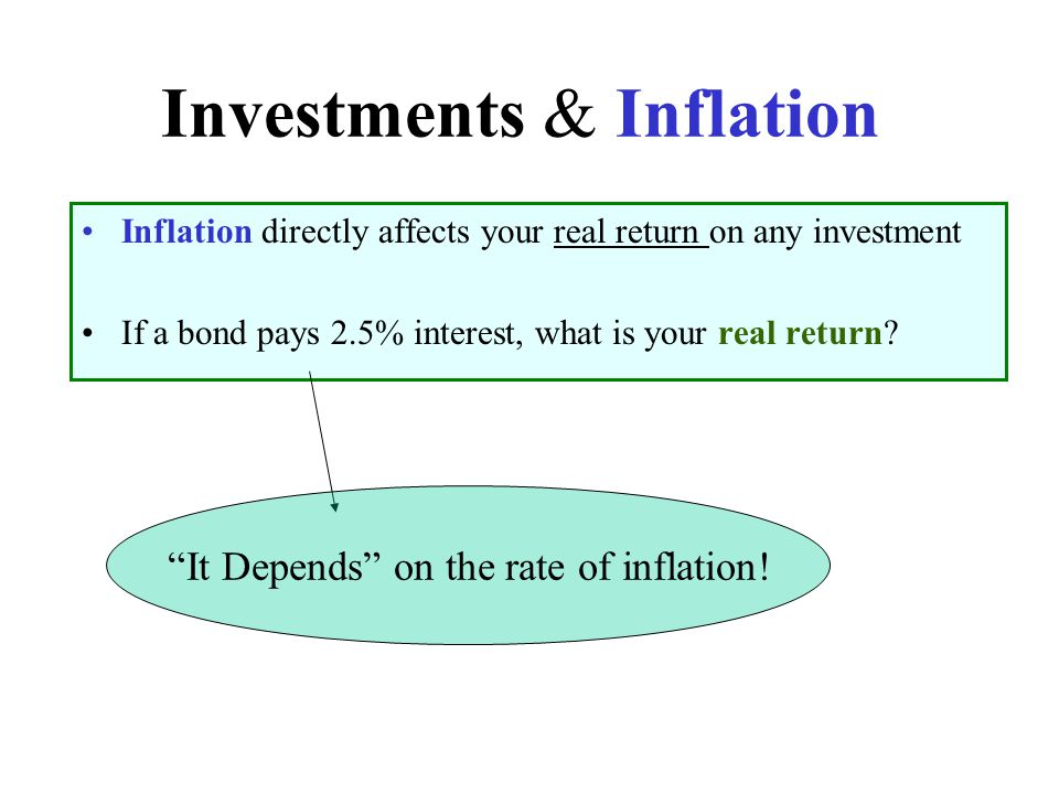 """Investments & Inflation Inflation directly affects your real return on any investment If a bond pays 2.5% interest, what is your real return? """"It Depe"""