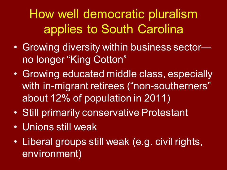 How well democratic pluralism applies to South Carolina Growing diversity within business sector— no longer King Cotton Growing educated middle class, especially with in-migrant retirees ( non-southerners about 12% of population in 2011) Still primarily conservative Protestant Unions still weak Liberal groups still weak (e.g.