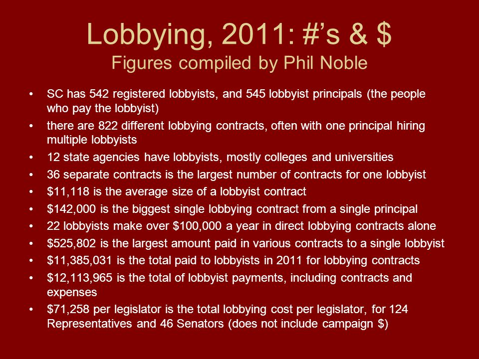 Lobbying, 2011: #'s & $ Figures compiled by Phil Noble SC has 542 registered lobbyists, and 545 lobbyist principals (the people who pay the lobbyist) there are 822 different lobbying contracts, often with one principal hiring multiple lobbyists 12 state agencies have lobbyists, mostly colleges and universities 36 separate contracts is the largest number of contracts for one lobbyist $11,118 is the average size of a lobbyist contract $142,000 is the biggest single lobbying contract from a single principal 22 lobbyists make over $100,000 a year in direct lobbying contracts alone $525,802 is the largest amount paid in various contracts to a single lobbyist $11,385,031 is the total paid to lobbyists in 2011 for lobbying contracts $12,113,965 is the total of lobbyist payments, including contracts and expenses $71,258 per legislator is the total lobbying cost per legislator, for 124 Representatives and 46 Senators (does not include campaign $)
