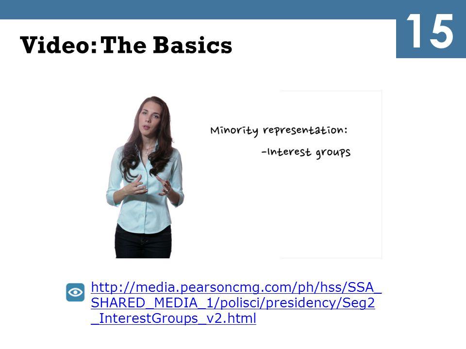 Video: The Basics http://media.pearsoncmg.com/ph/hss/SSA_ SHARED_MEDIA_1/polisci/presidency/Seg2 _InterestGroups_v2.html 15
