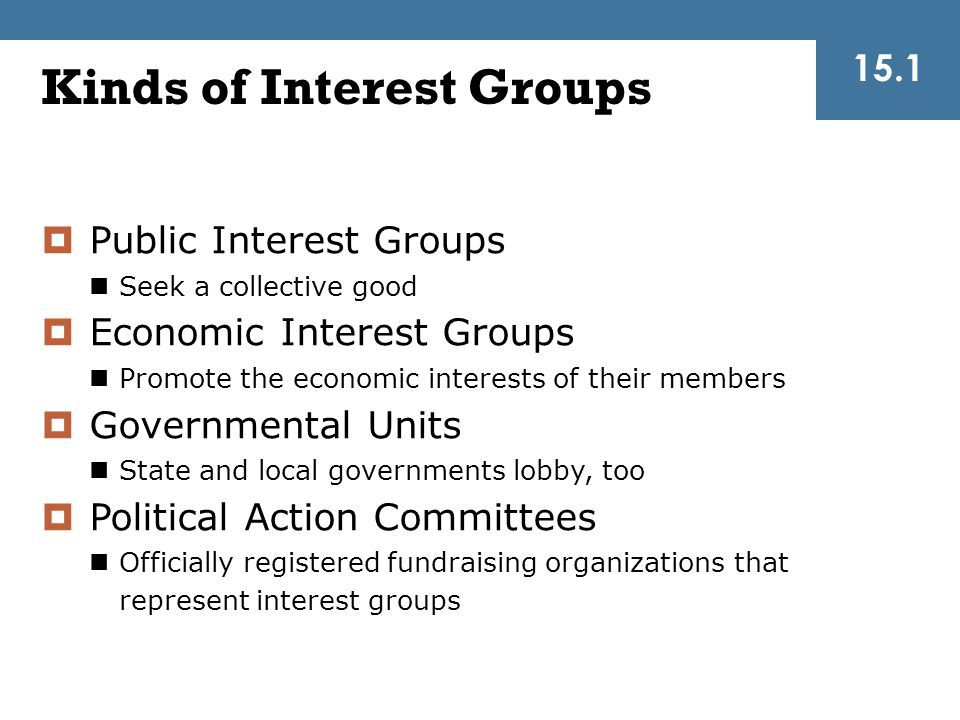  Public Interest Groups Seek a collective good  Economic Interest Groups Promote the economic interests of their members  Governmental Units State